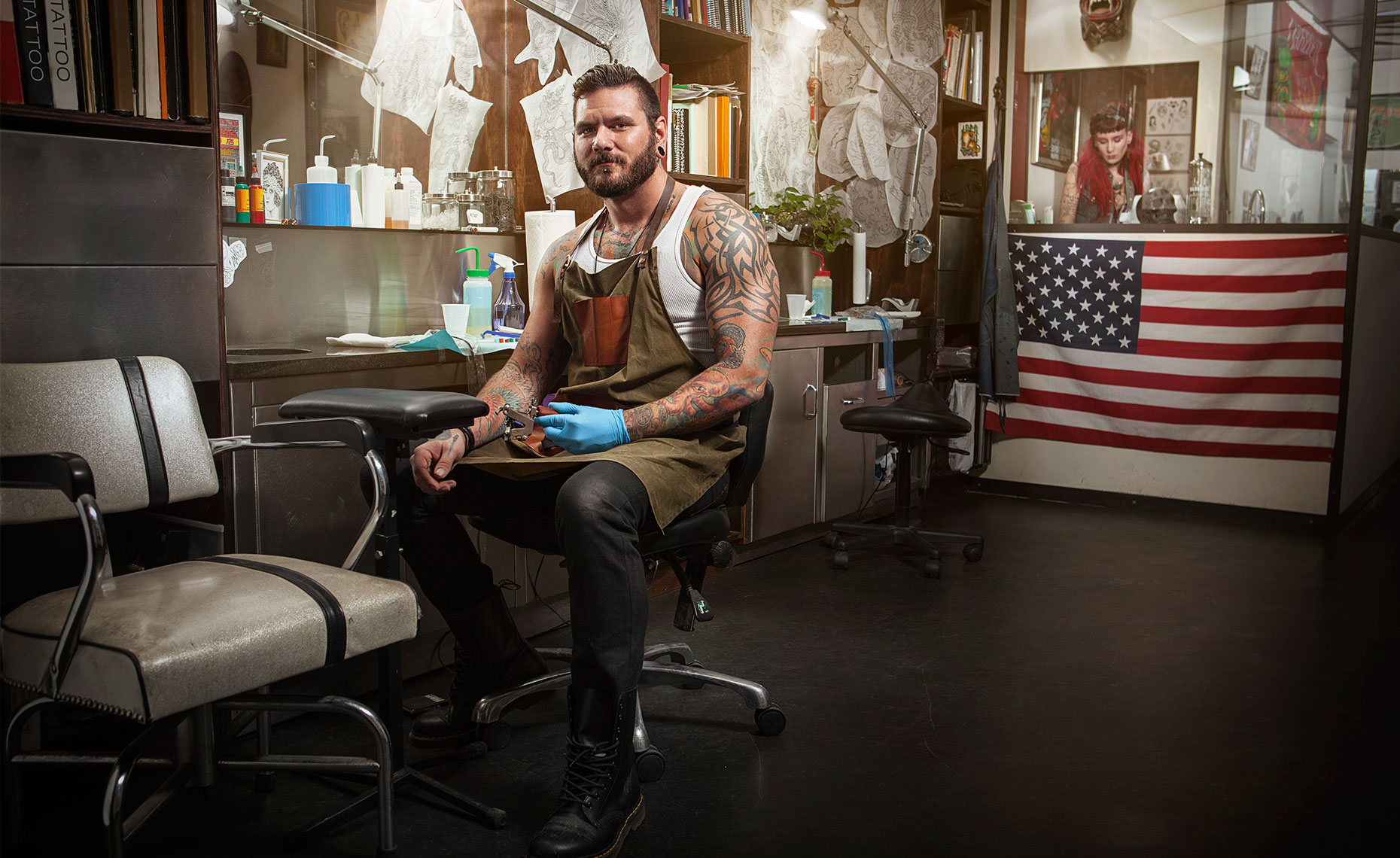 Tattoo Artist in Shop